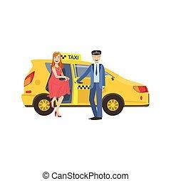 tassì, donna, porta, apertura, automobile, driver, giallo, uscire