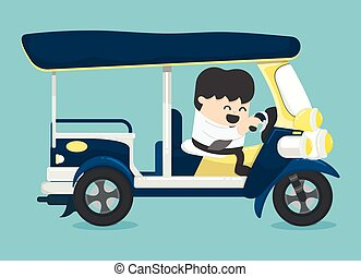 tassì, guida, tuk, tre-wheeler, uomo affari, tailandia