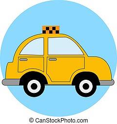 tassì, illustrazione, giallo, fondo., vettore, automobile, bianco