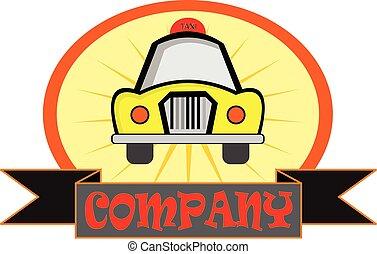 tassì, logotipo, giallo, trasporto