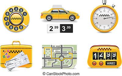tassì, p.1, vettore, servizio, icons.