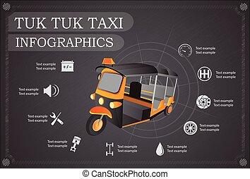 tassì, riparazione, tuk, servizio, automobile, illustrazione, infographics., vettore, tailandia