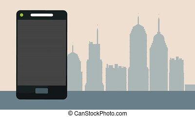 tassì, servizio, app, da, smartphone, hd, animazione
