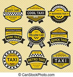 tassì, stile, set, vendemmia, taxi, insegne