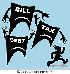 tassa, conto, attacco, debito, uomo affari, era