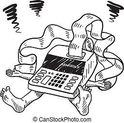 tassa, e, stress finanziario, schizzo
