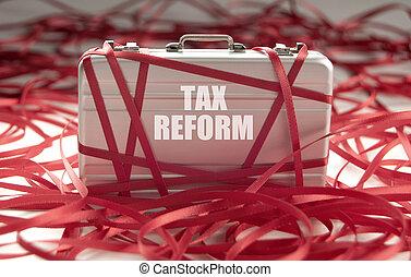 tassa, nastro, rosso, reform