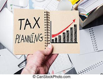 tassa, pianificazione, blocco note, tenendo mano