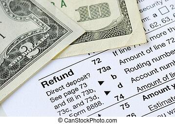 tassa, soldi, stati, ritorno, unito, refunded