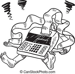 tassa, stress, finanziario, schizzo