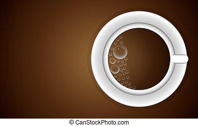 tasse, à, bulles, de, café