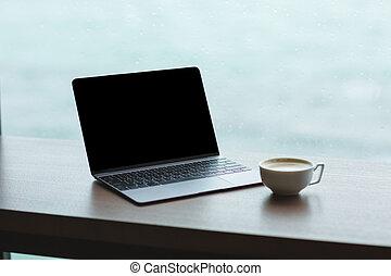 tasse à café, écran, informatique, vide, ordinateur portable