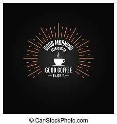 tasse à café, étiquette, arrière-plan noir, logo., vinge