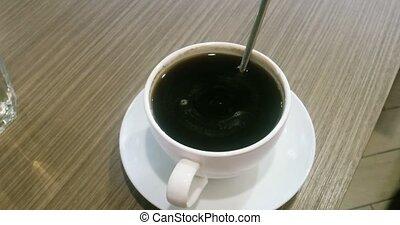 tasse à café, americano, table bois, blanc