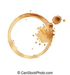 tasse à café, anneaux, isolé, arrière-plan., blanc