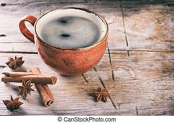 tasse à café, bâtons cannelle, sur, a, bois, table.