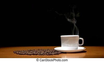 tasse à café, bois, arrière-plan., chaud, haricots, noir,...