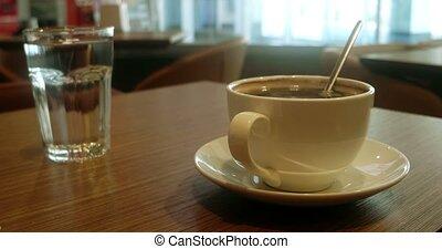 tasse à café, bois, glas, table eau, blanc