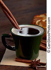 tasse à café, bois, vendange, foyer, crémeux, sélectif, fait...