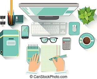 tasse à café, bureau, utilités, inclure, papiers, informatique, stationnaire, worplace, lunettes