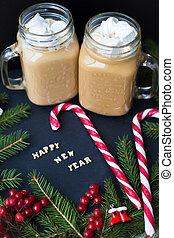 tasse à café, candy., gros plan, guimauves, ornements, noël