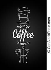 tasse à café, citation, arrière-plan., noir, autre, logo, design.