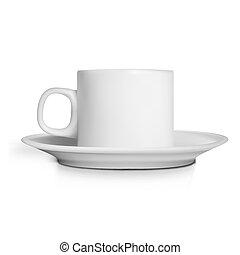 tasse à café, clair, réaliste, fond, blanc