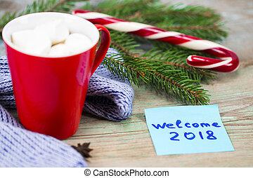 tasse à café, concept., accueil, note collante, bois, 2018, année, 2018., nouveau, table écriture