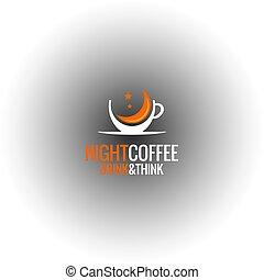 tasse à café, concept., conception, fond, nuit, logo, café, noir