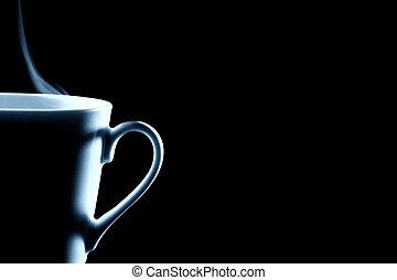 tasse à café, cuire vapeur, noir, moitié, contour