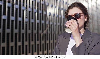 tasse à café, délassant, femme, apprécie, lactose-free, ...