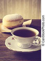 tasse à café, démodé, beignet, salle