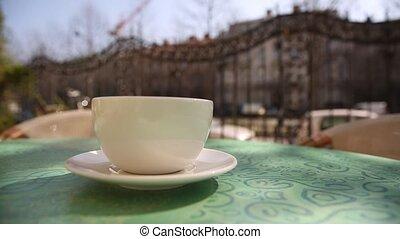 tasse à café, dehors, chaud, table, café, matin, vapeur
