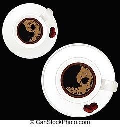tasse à café, deux, arrière-plan noir, blanc