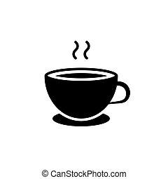 tasse à café, express, illustration, arrière-plan., noir, blanc, icône