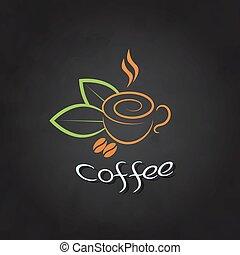 tasse à café, feuilles, vert, chalkboard., haricots