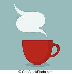 tasse à café, fumée, rouges