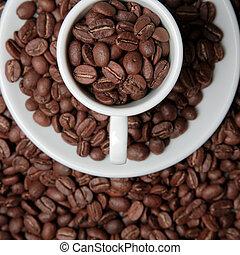 tasse à café, haricots