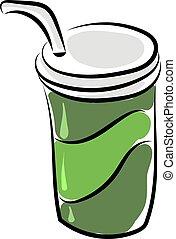 tasse à café, illustration, arrière-plan., vecteur, blanc vert