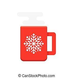 tasse à café, illustration, chaud, vecteur, rouges