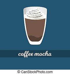 tasse à café, illustration, moka, vecteur, chocolat, crème fouettée