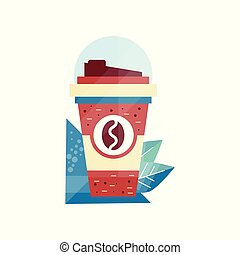 tasse à café, illustration, papier, vecteur, fond, blanc