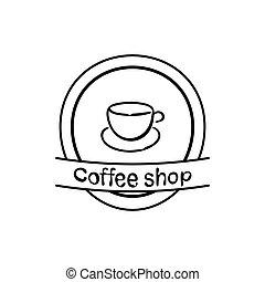 tasse à café, illustration, vecteur, fond, blanc, icône