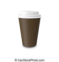 tasse à café, isolé, arrière-plan., papier, vide, blanc