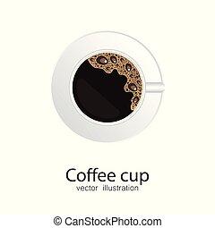 tasse à café, isolé, illustration, arrière-plan., vecteur, blanc