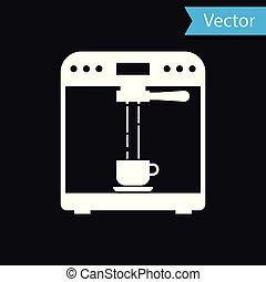 tasse à café, isolé, illustration, machine, arrière-plan., vecteur, noir, blanc, icône
