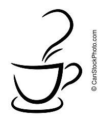 tasse à café, noir, blanc, fond, illustration