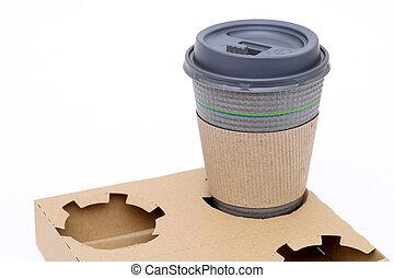 tasse à café, papier, recyclé, porteur, pulpe