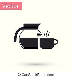 tasse à café, pot, gris, illustration, isolé, arrière-plan., vecteur, blanc, icône
