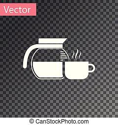 tasse à café, pot, isolé, illustration, arrière-plan., vecteur, blanc, transparent, icône